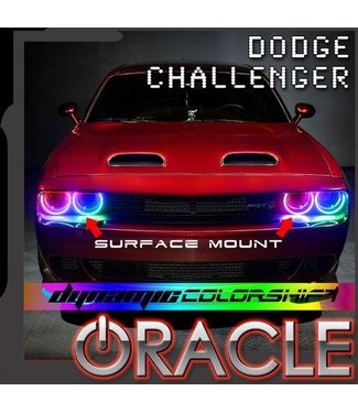 Oracle Lighting 2015-2021 Dodge Challenger Oracle Dynamic ColorSHIFT Headlight Halo Kit - Surface Mount