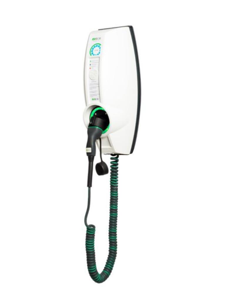 EVBox BusinessLine enkele connector (met vaste spiraal kabel) - 11 kW oplaadpunt voor zakelijk gebruik