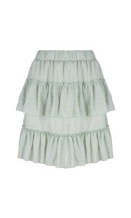 Delousion Skirt Stellan Green Ruffle