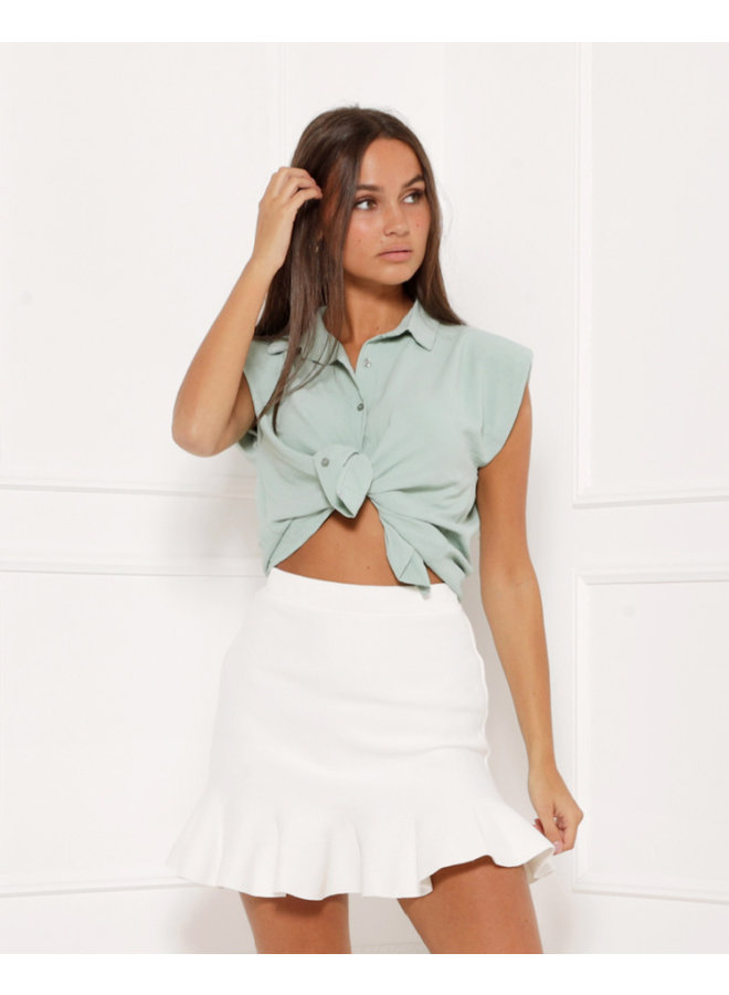 Loose ties top - green #1412