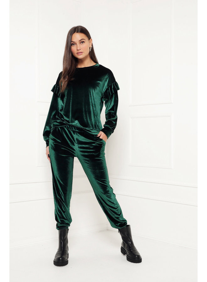 Super soft velour top - green #1489