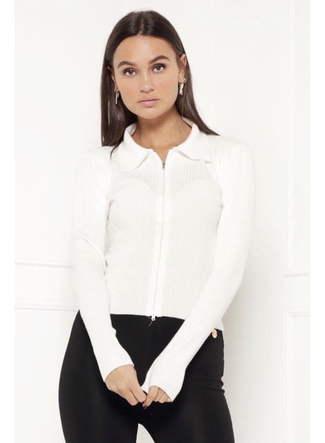 Work zipper up top - white #1481