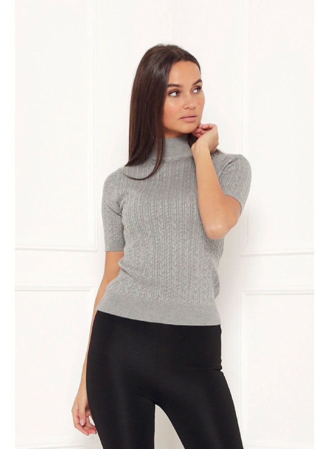Ribbed cole tee top - grey #1430