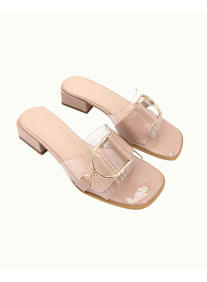 Golden Buckle Sandals - Beige #68-190