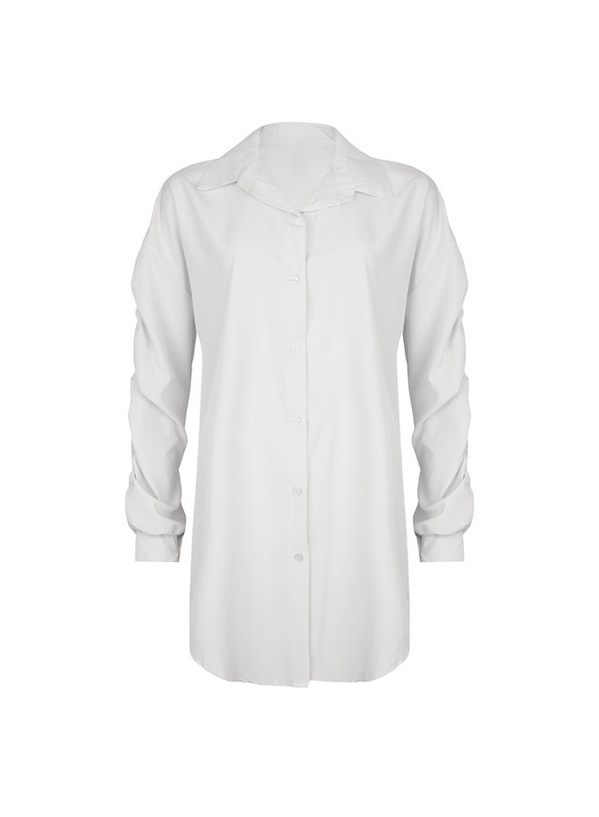 Ruched blouse - white #1520