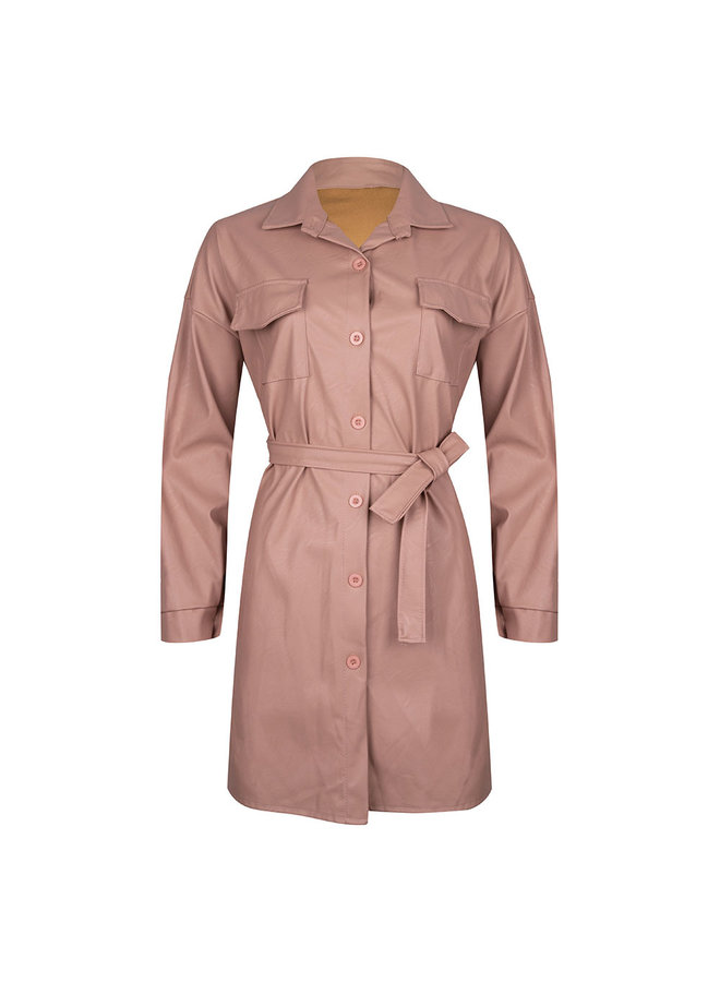 Leather look jacket - pink #1516