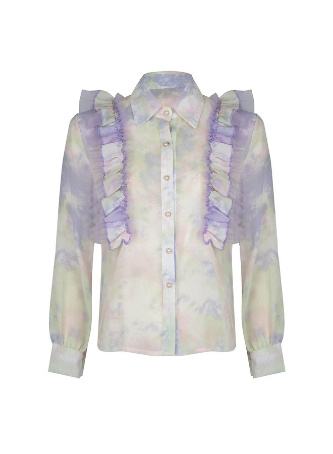 Flower ruffle blouse - lila/green #1514