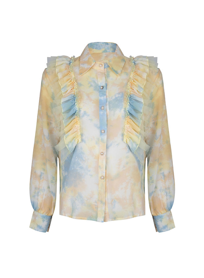 Flower ruffle blouse - yellow/blue #1514