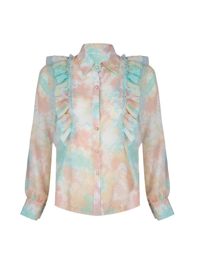 Flower ruffle blouse - mint/peach #1514