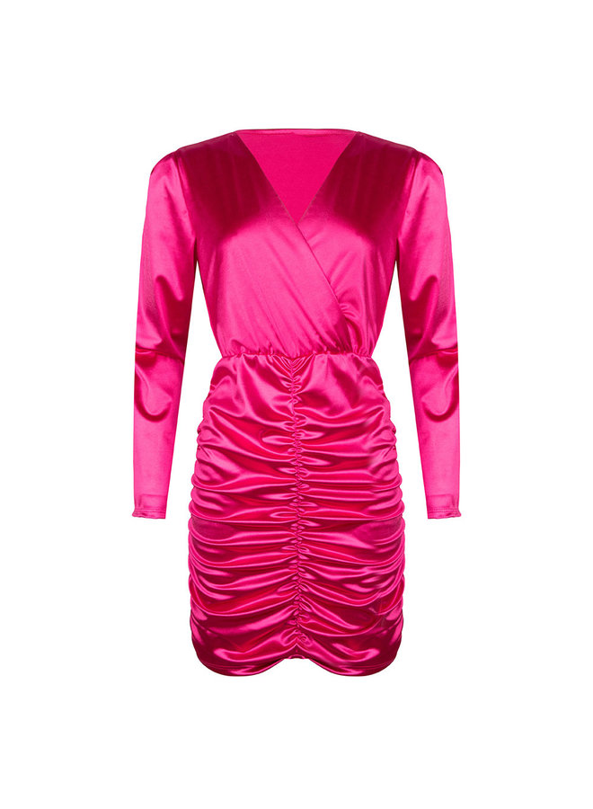 Ruched bodycon dress - pink #1506