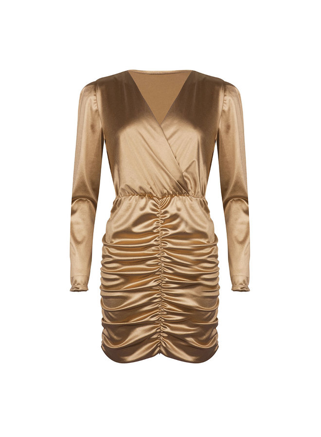 Ruched bodycon dress - gold #1506