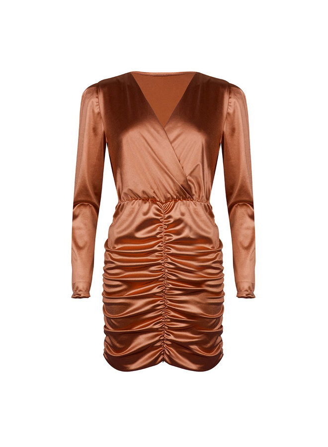 Ruched bodycon dress - copper #1506