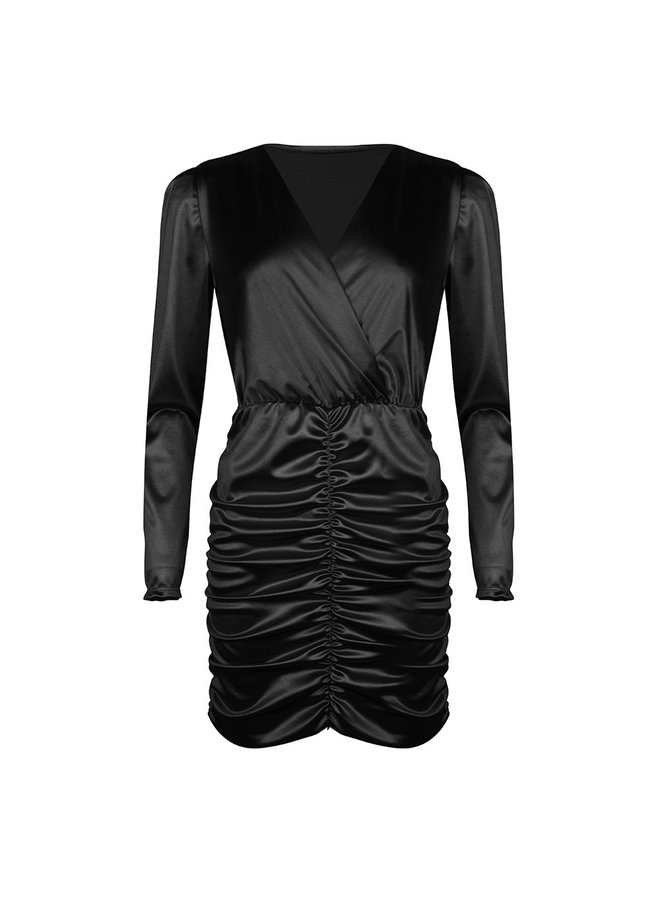 Ruched bodycon dress - black #1506