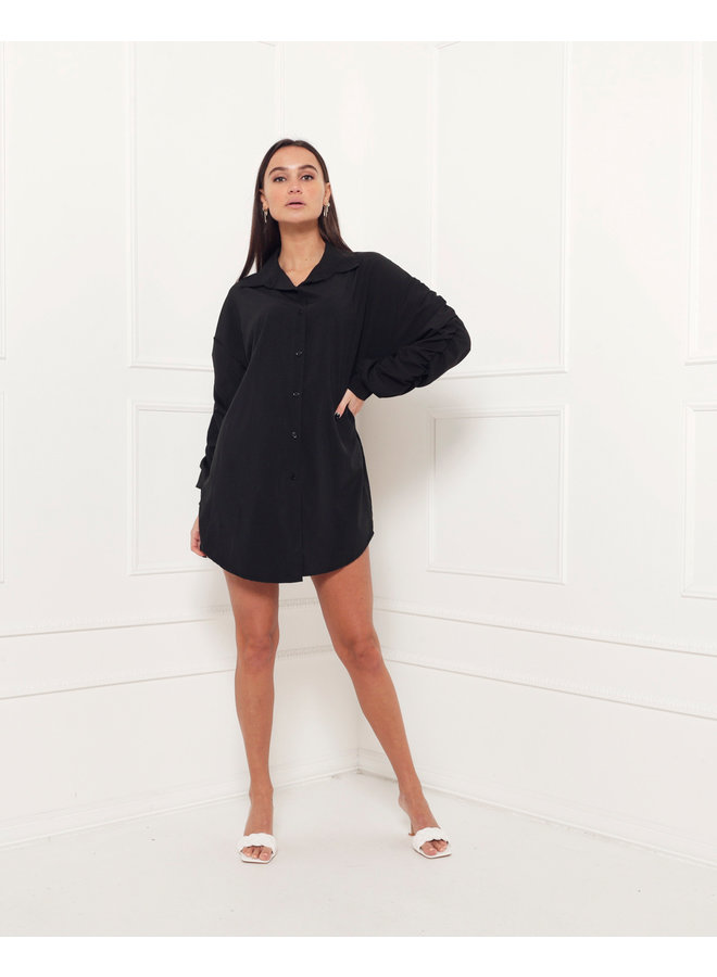 Ruched blouse - black #1520