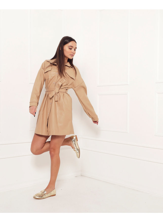 Leather look jacket - brown #1516