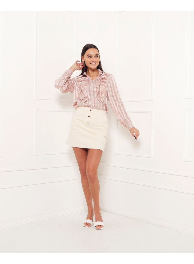 The ruffle effect blouse  - pink #1509