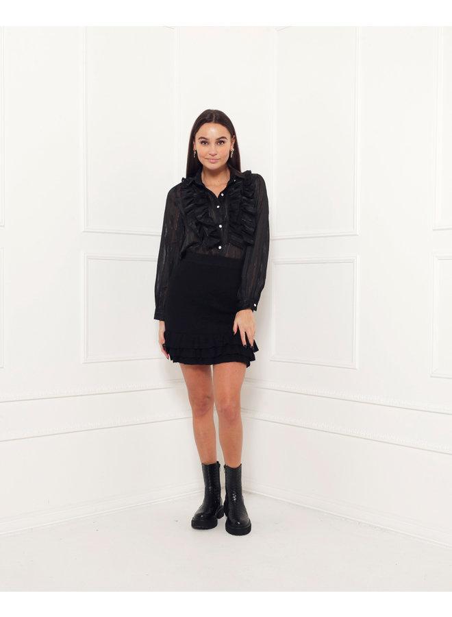 The ruffle effect blouse - black #1509