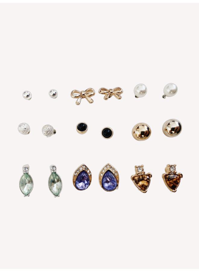 Set of 9 Earrings - #1360