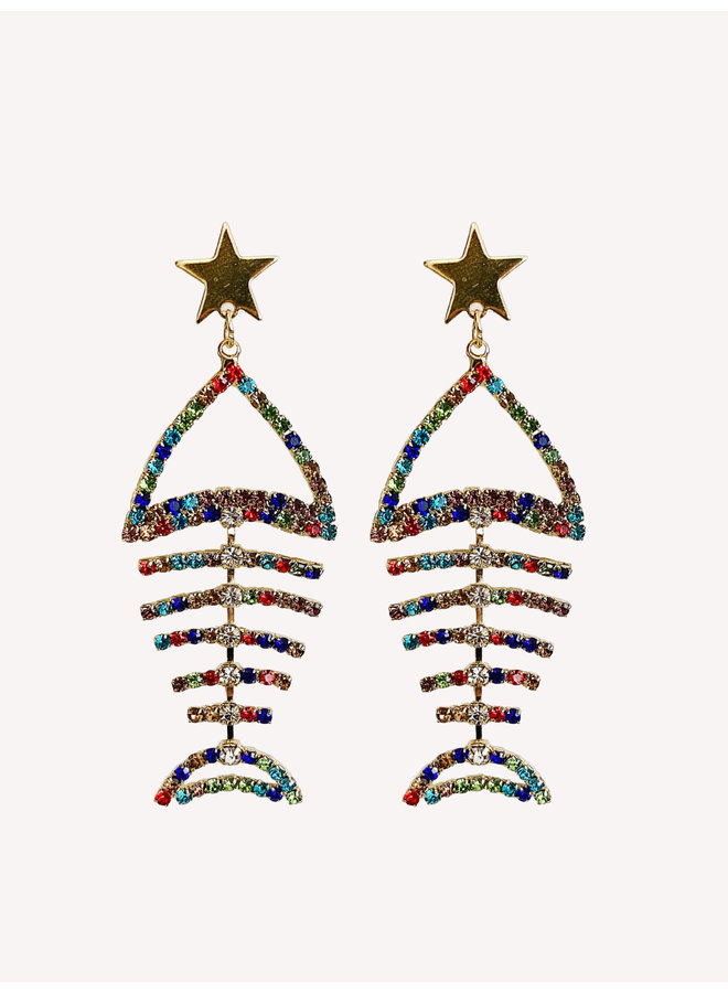 Earring - Gold - Colorful #1343