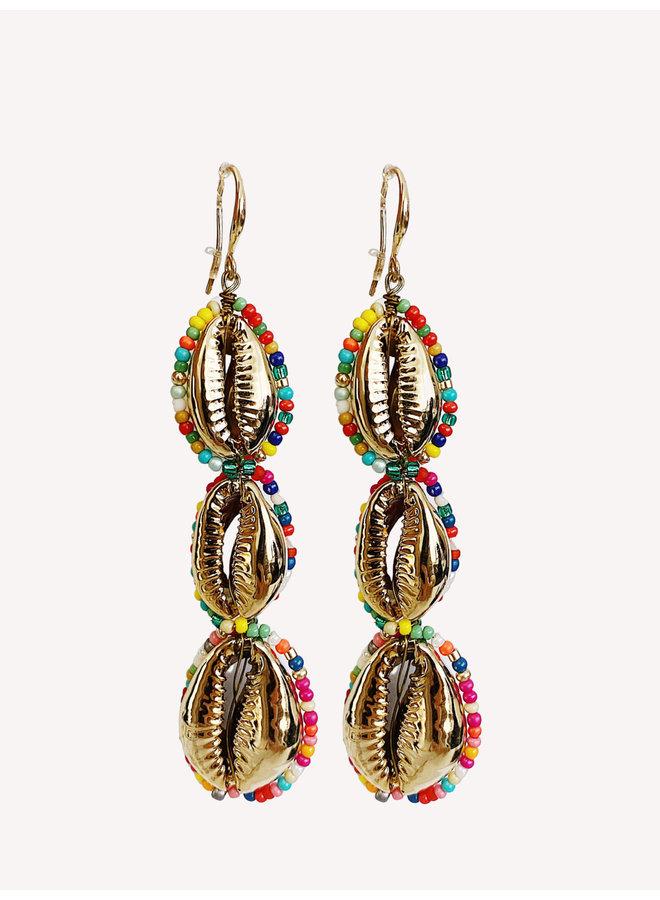 Earring - Gold - Shell #1342
