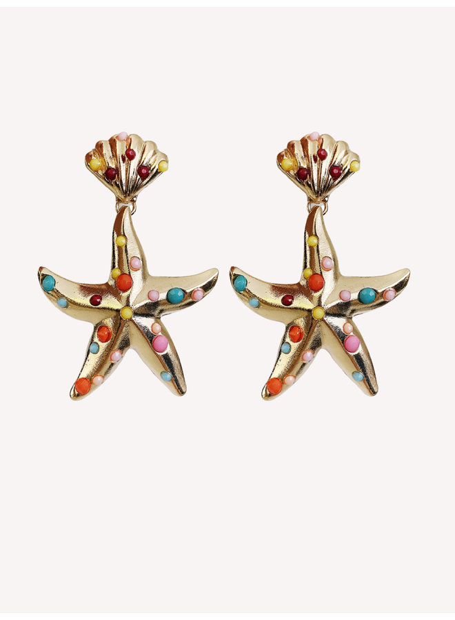 Earring - Gold - Colorful #1338