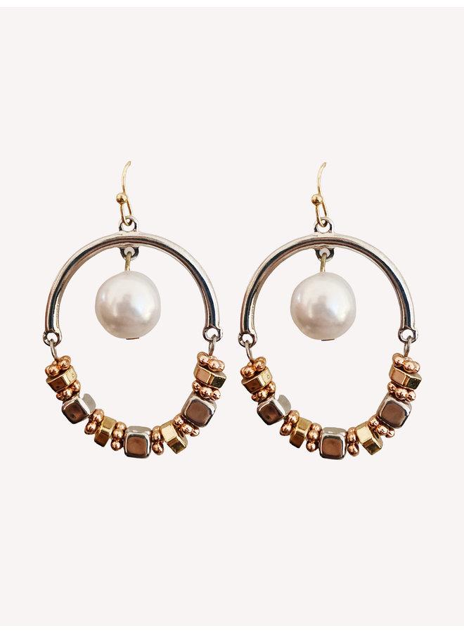 Earring -Silver Rose #195