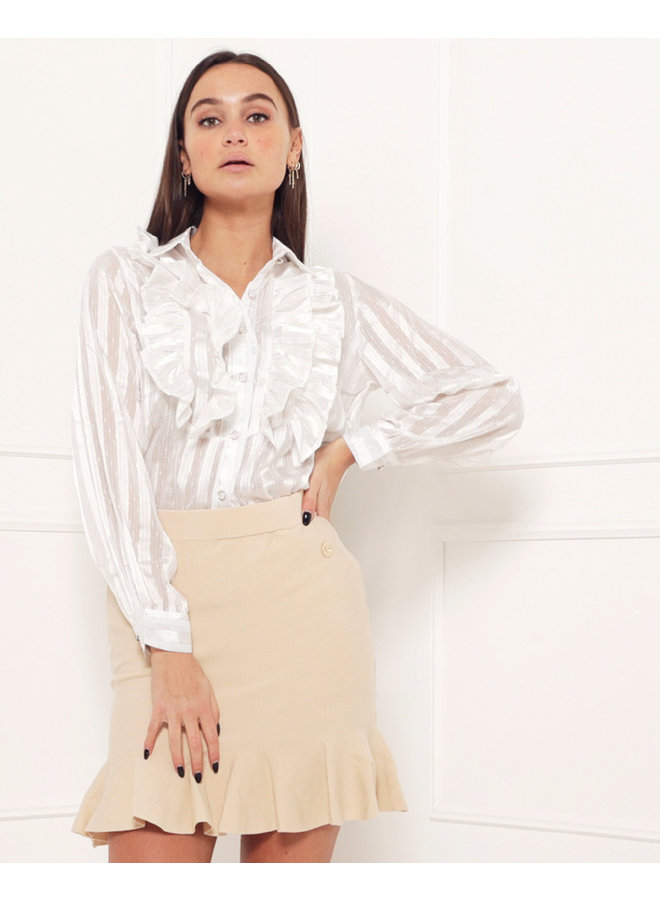 The ruffle effect blouse - white #1509