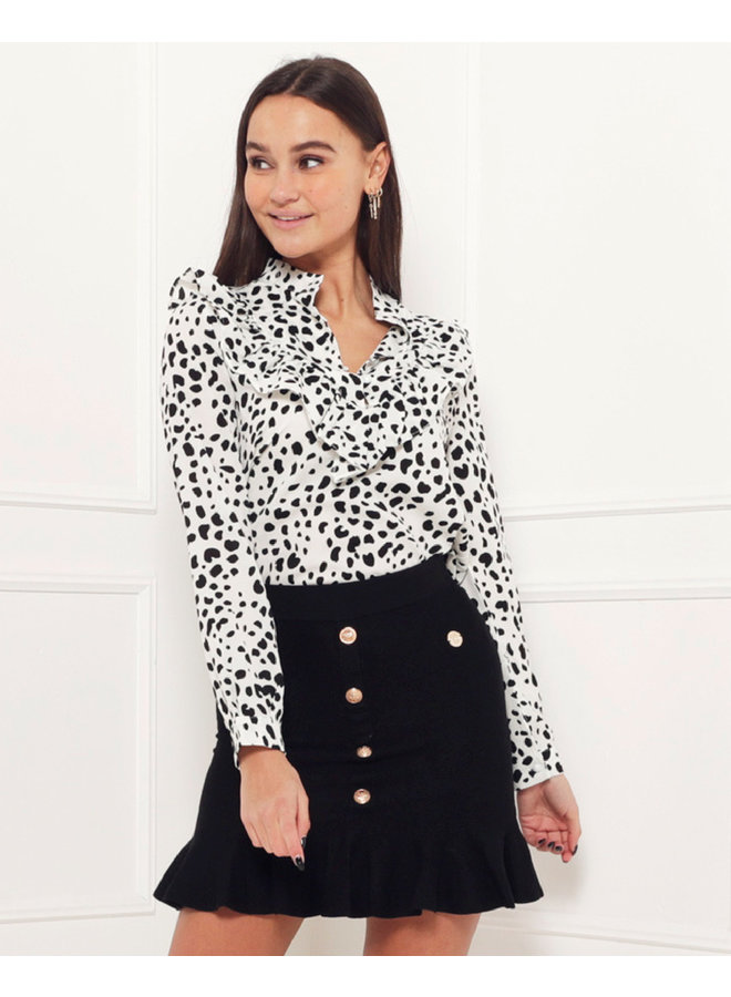 Fierce blouse - white/leo #1511