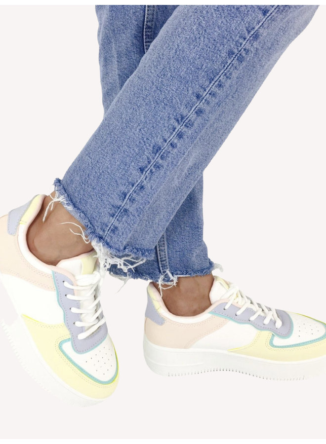 Color Block Sneakers - White #R-919