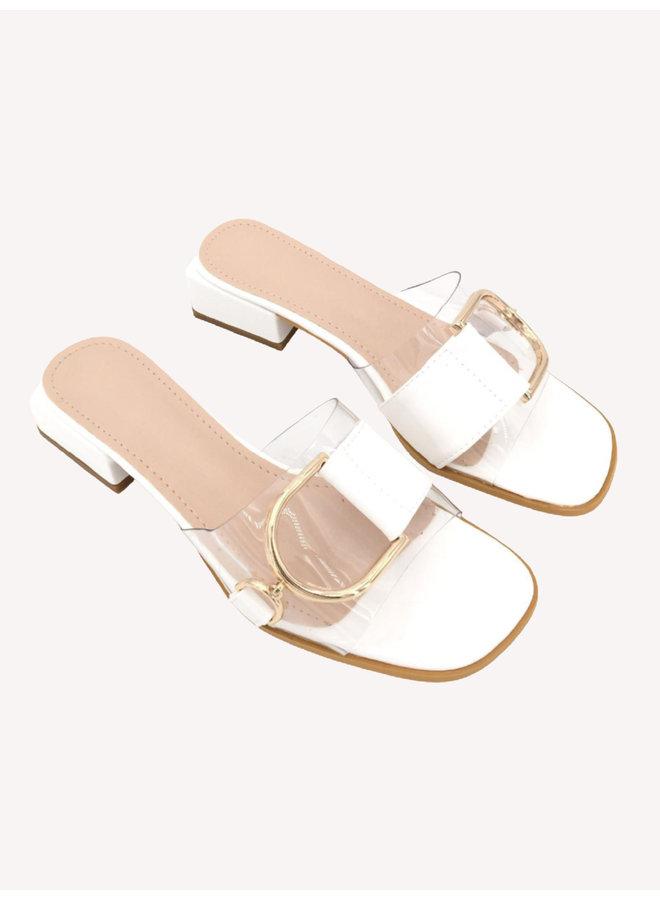 Golden Buckle Sandals - White #68-190