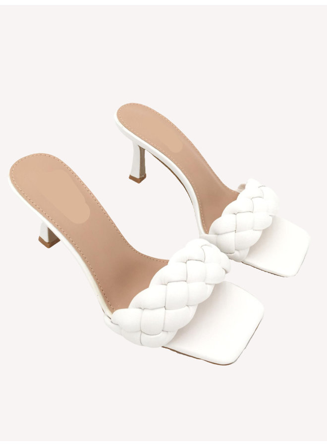 Braided Heel Mule - White #LS5192