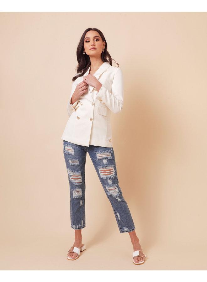 Straight ripped denim jeans - medium wash #1538