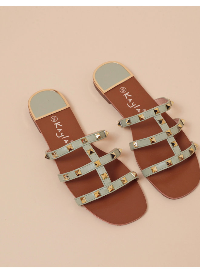 Sweet encounter stud slides - green #LL6552