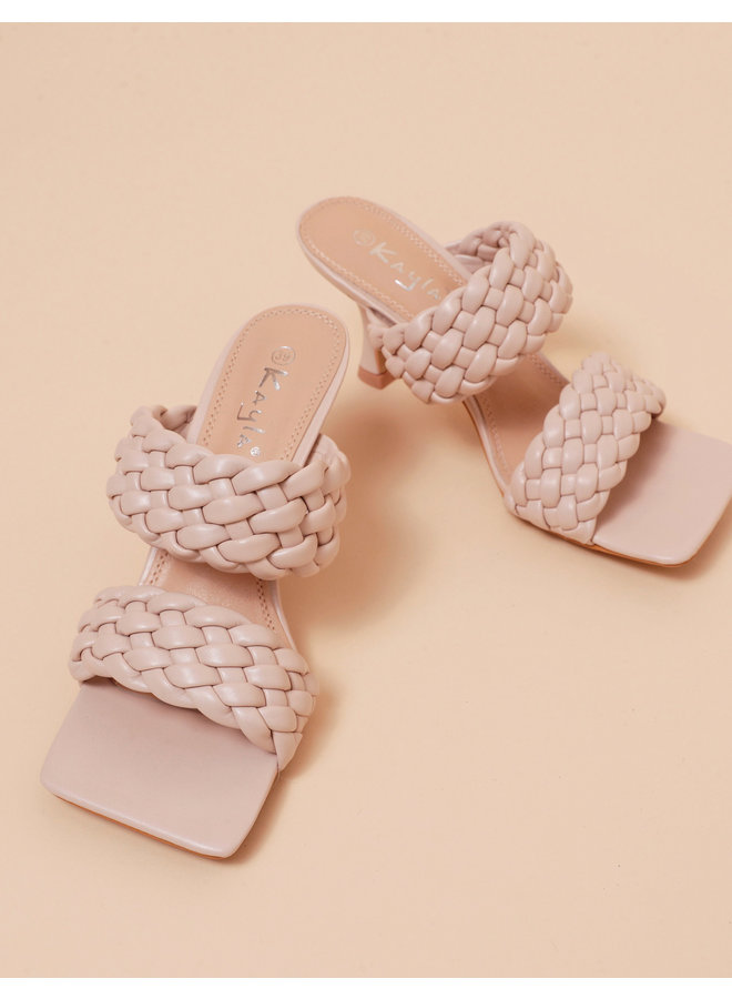 Highly classified braided mule heels - beige #LL6566