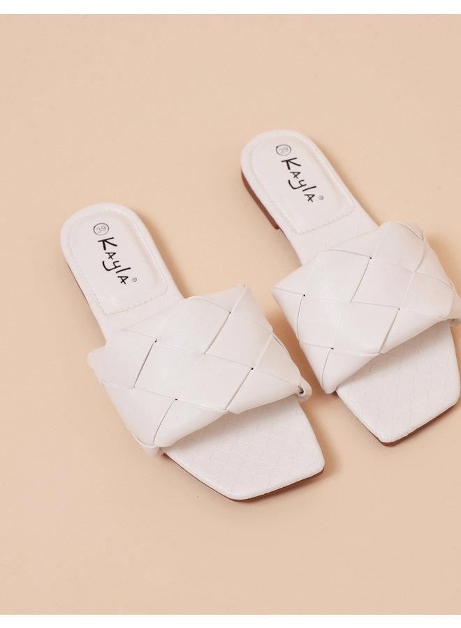 Evelina braided slides - white #LL6553