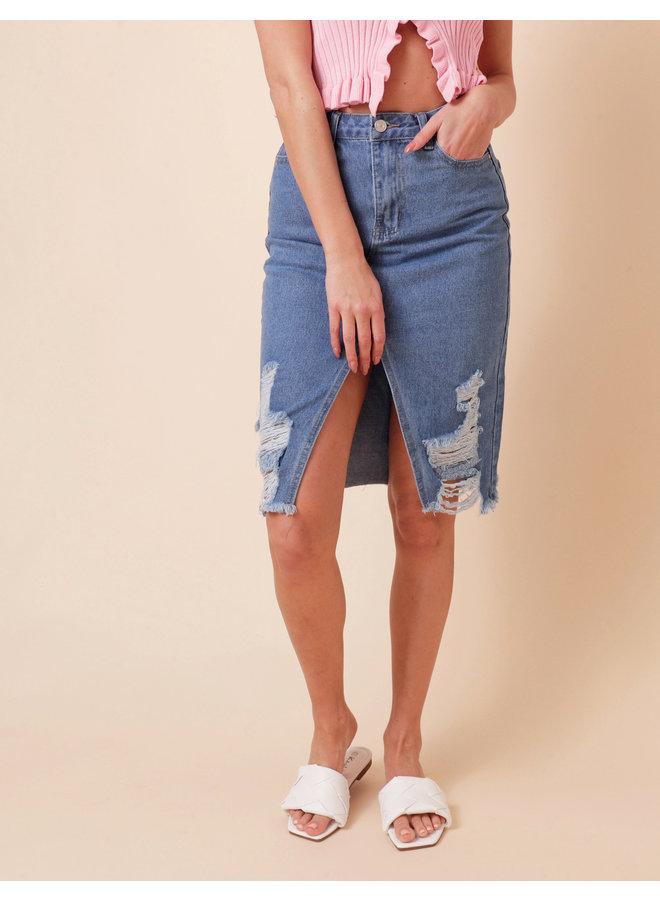 Girlfriend denim skirt - medium wash #1568