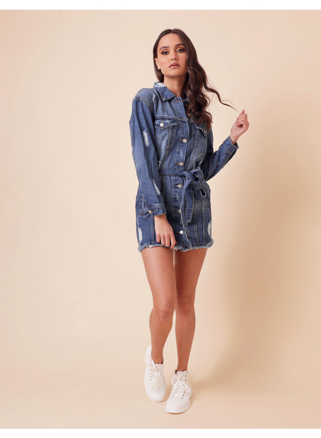 Miss stressed denim jacket - medium wash #1567