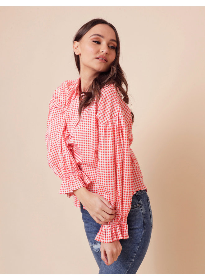 Kaisley plaid blouse - red #1554