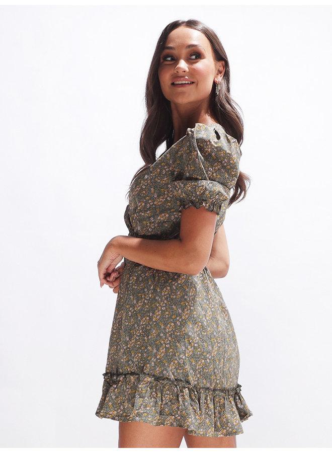 Nicki belted dress - green #2142