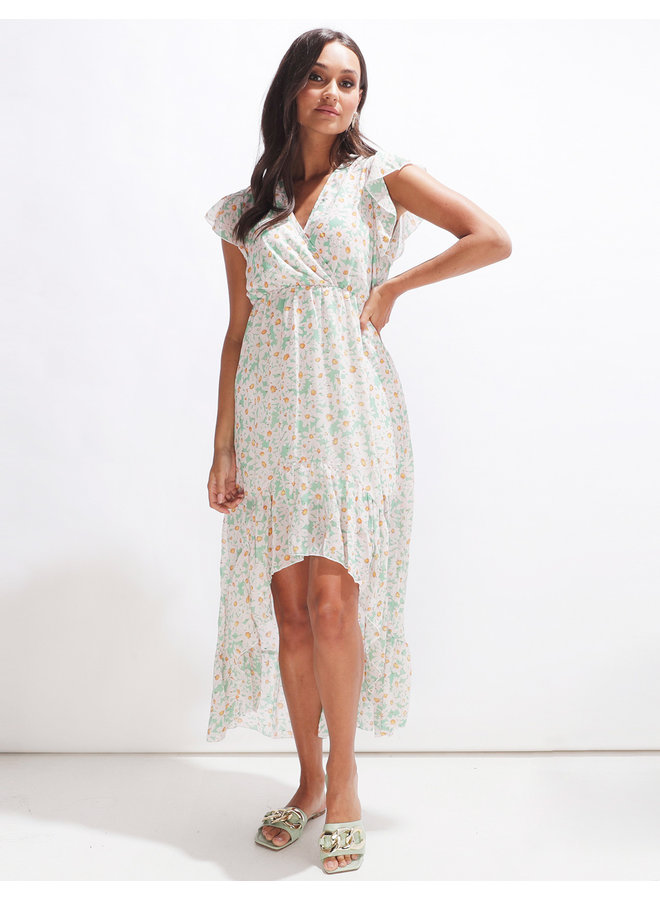 Long sunflower dress - green #2075