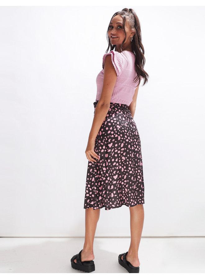 Long belted polka skirt - black #2080