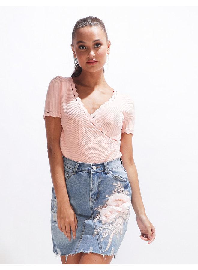 Sweetest flower skirt - denim #2091