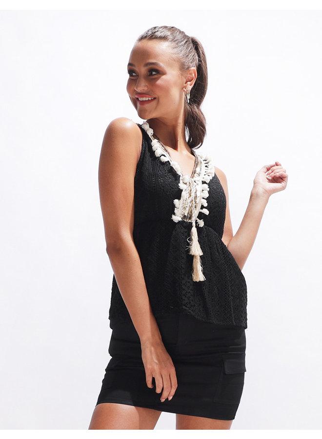 Ibiza top - black/beige #2064