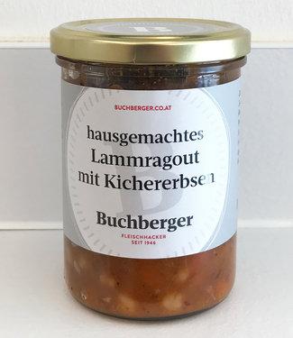 Hausgemachtes Lammragout mit Kichererbsen im Glas