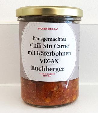 Hausgemachtes veganes Chili mit Käferbohnen im Glas