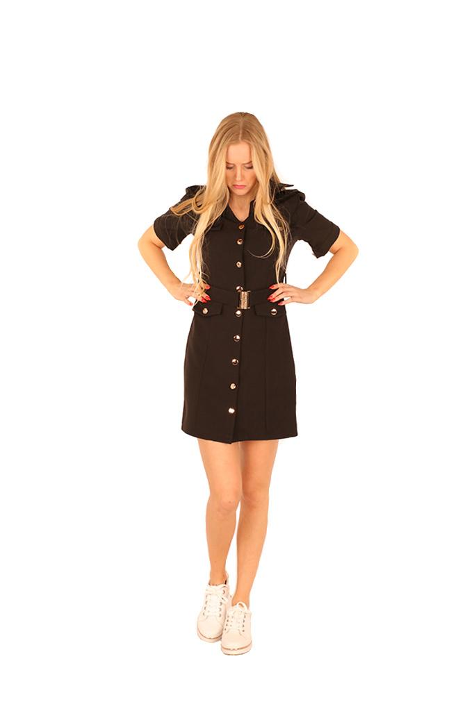 200ROB0132  Blazer jurk korte mouwen  Zwart