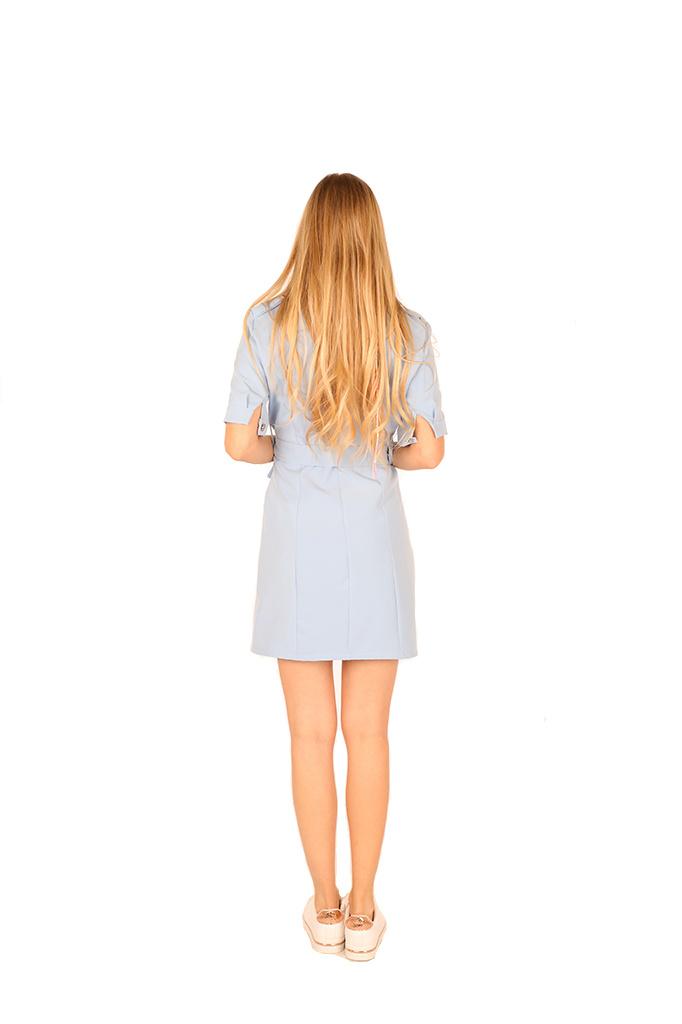 200ROB0132  Blazer jurk korte mouwen Licht blauw