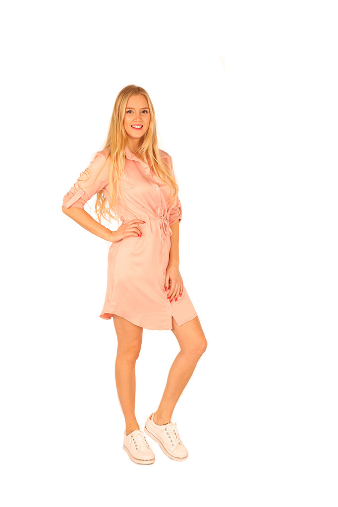 200ROB0130  Hemd jurk satijn met tunnel-ceintuur Licht roze