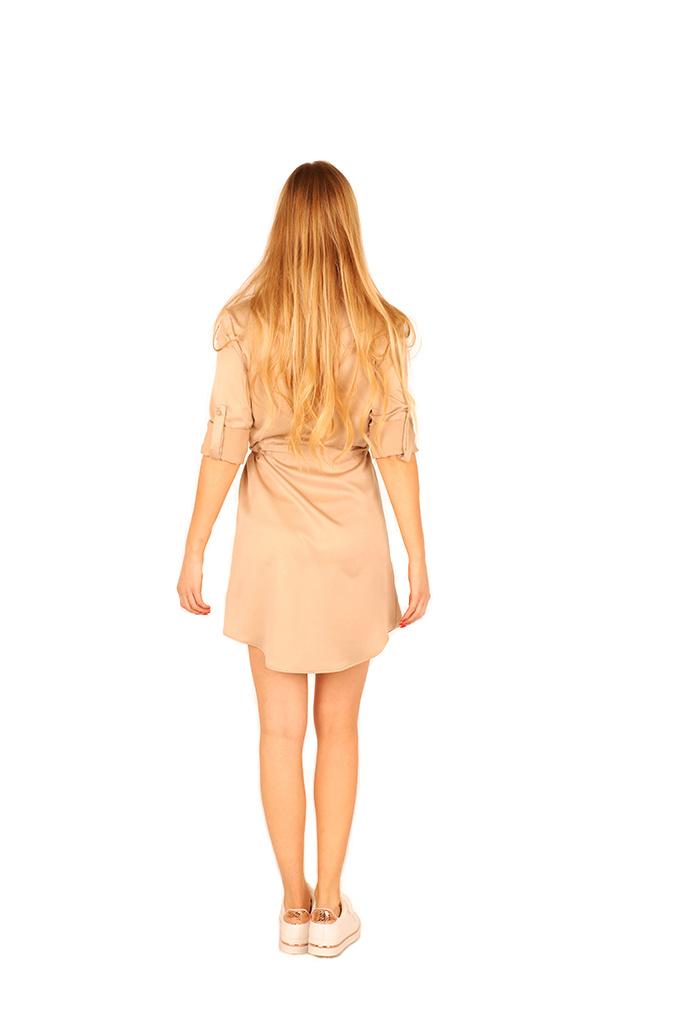 200ROB0130  Hemd jurk satijn met tunnel-ceintuur Beige