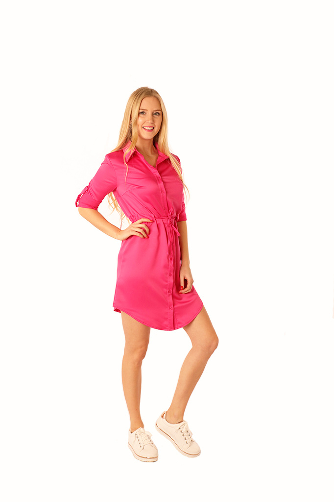 200ROB0130  Hemd jurk satijn met tunnel-ceintuur Fuchsia